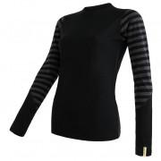 Tricou funcțional femei Sensor Merino Active mânecă lungă negru/gri