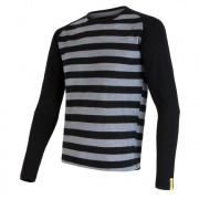 Tricou funcțional bărbați Sensor Merino Wool Active mânecă lungă negru/gri černé pruhy