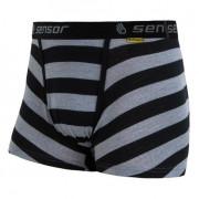 Boxeri bărbați Sensor Merino Wool Active dungi negre negru/gri černé pruhy