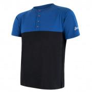 Tricou funcțional bărbați Sensor Merino Air PT nasturi negru/albastru modrá/černá