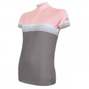 Tricou ciclism femei Sensor Cyklo Summer Stripe gri/roz
