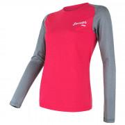 Tricou funcțional femei Sensor Merino Active PT Logo mânecă lungă gri/roz