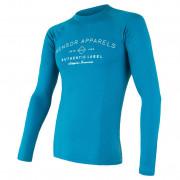 Tricou bărbați Sensor Merino DF Label albastru modrá
