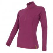 Tricou funcțional femei Sensor Merino DF cu fermoar violet lilla