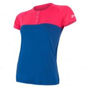 Tricou femei Sensor Merino Air PT nasturi albastru/roz magenta/modrá