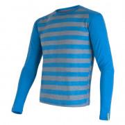 Tricou funcțional bărbați Sensor Merino Wool Active mânecă lungă albastru modrá pruhy