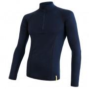 Tricou funcțional bărbați Sensor Merino DF fermoar albastru