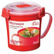 Hrnek Sistema Microwave Medium Soup Mug Red roșu