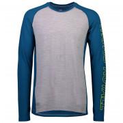 Tricou funcțional bărbați Mons Royale Temple Tech LS gri/albastru