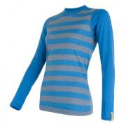 Tricou femei Sensor Merino Wool Active mânecă lungă albastru modrá pruhy