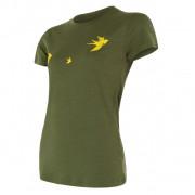 Tricou funcționali femei Sensor Merino Wool Swallow mânecă scurtă verde închis safari